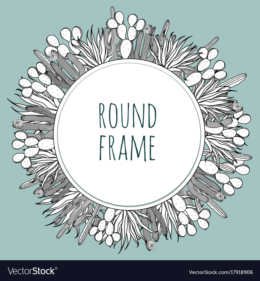 Round succulent cactus outline frame Royalty Free Vector