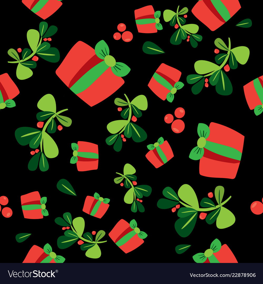Seamless winter pattern with a red gift boxes and