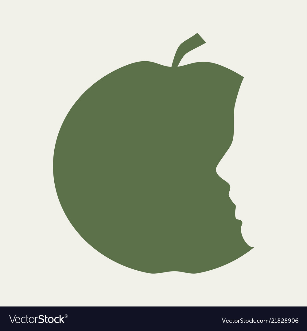 Silhouettes of apple and head