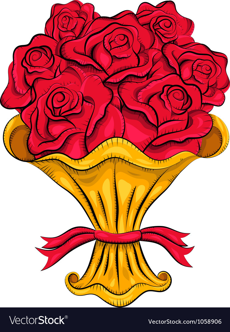 Vintage bouquet of roses vector image
