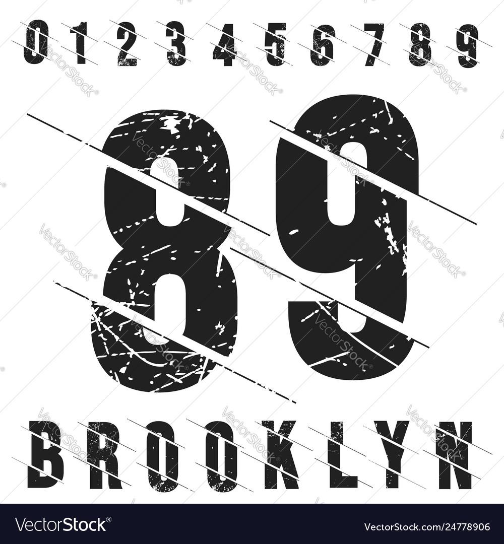 Vintage numbers t-shirt stamp grunge textured