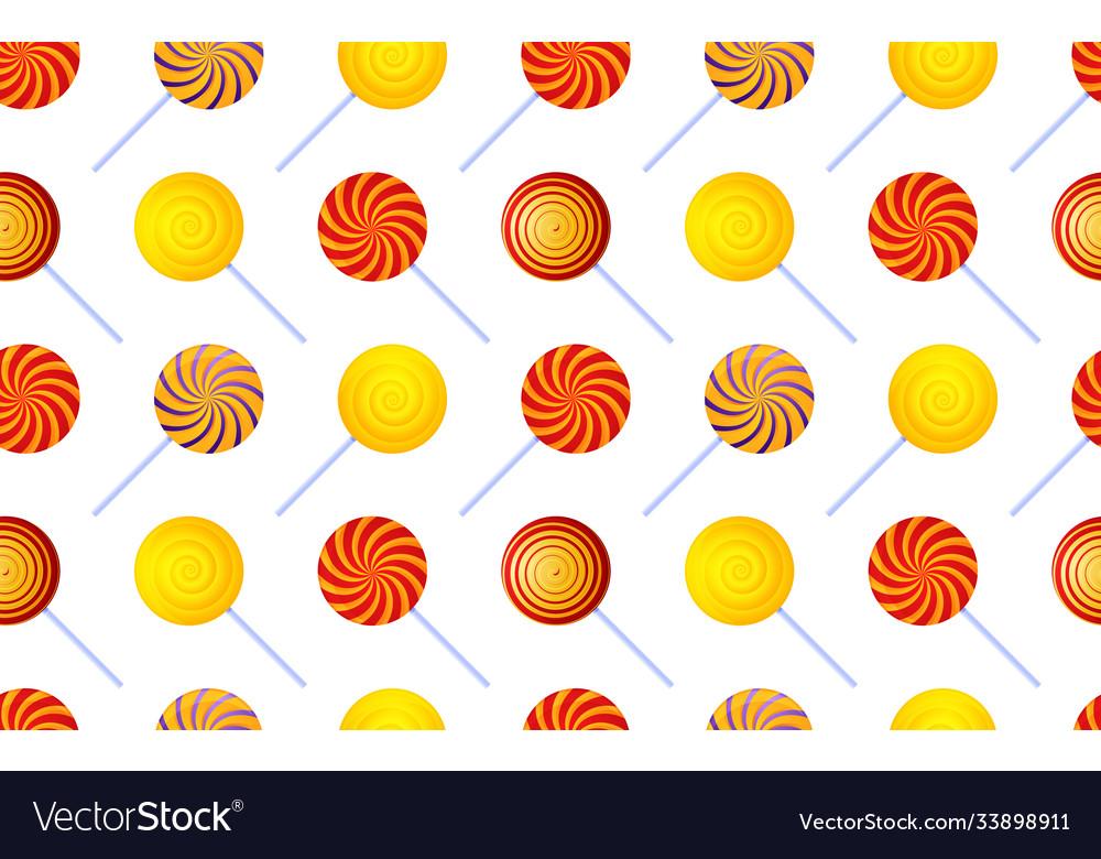 Colorful swirl lollipop seamless pattern poster
