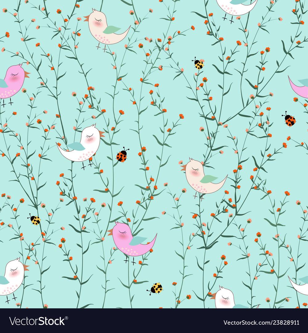 Cute birds in blooming flowers garden