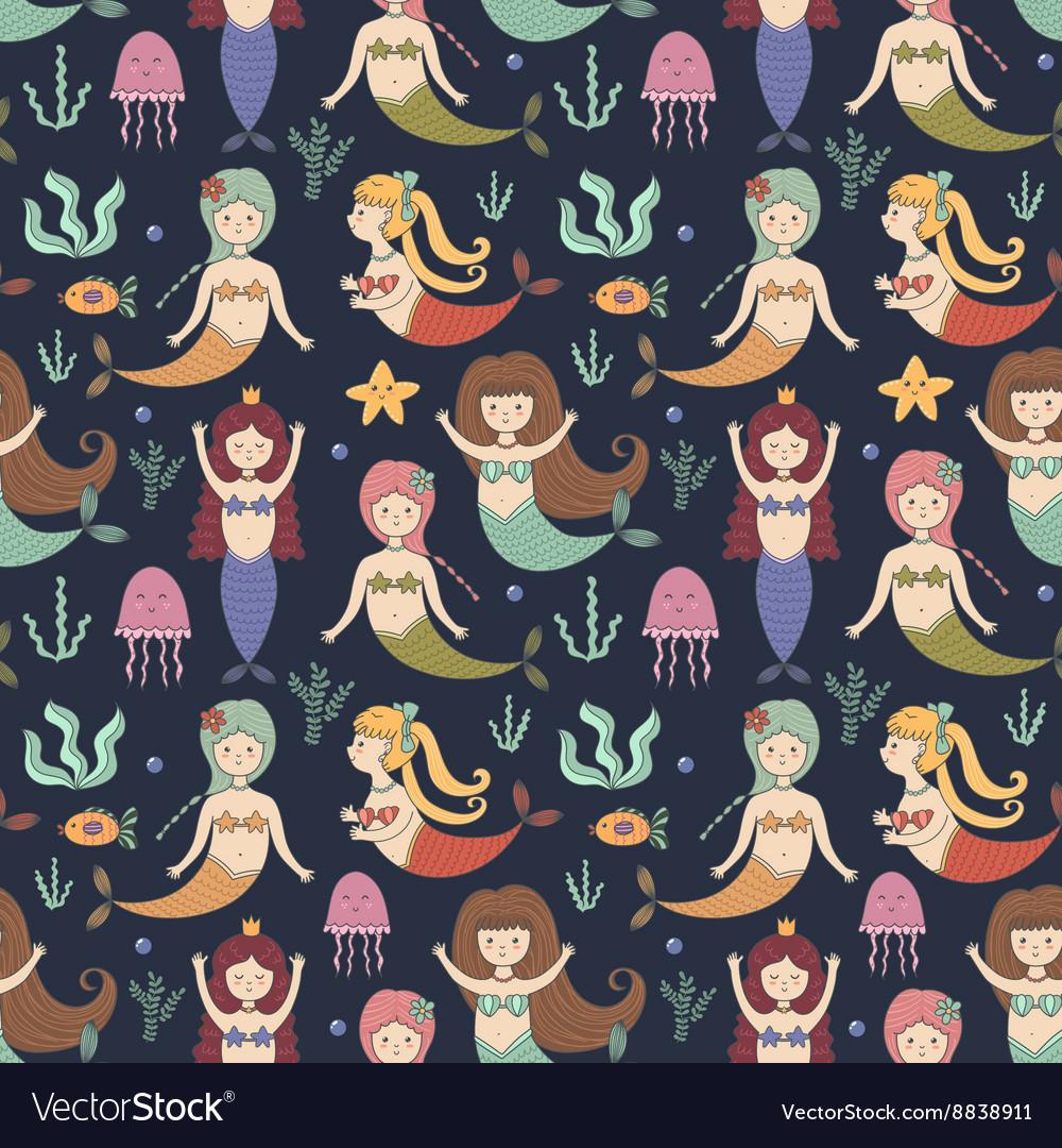 Cute mermaids seamless pattern