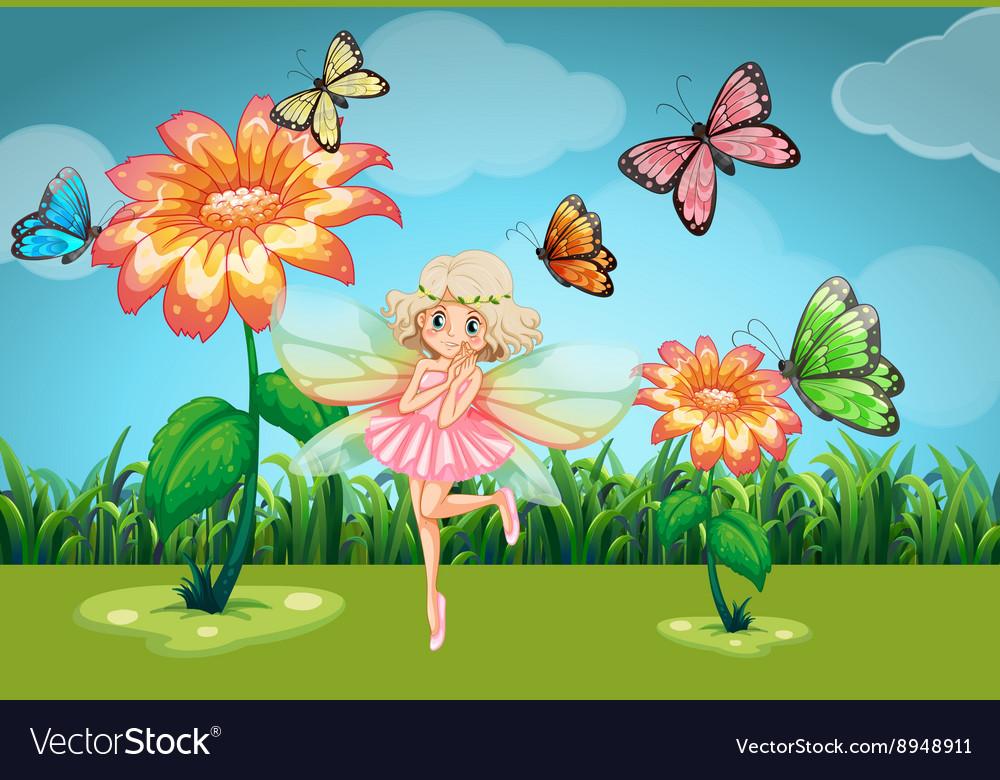 Fairy and butterflies in the garden