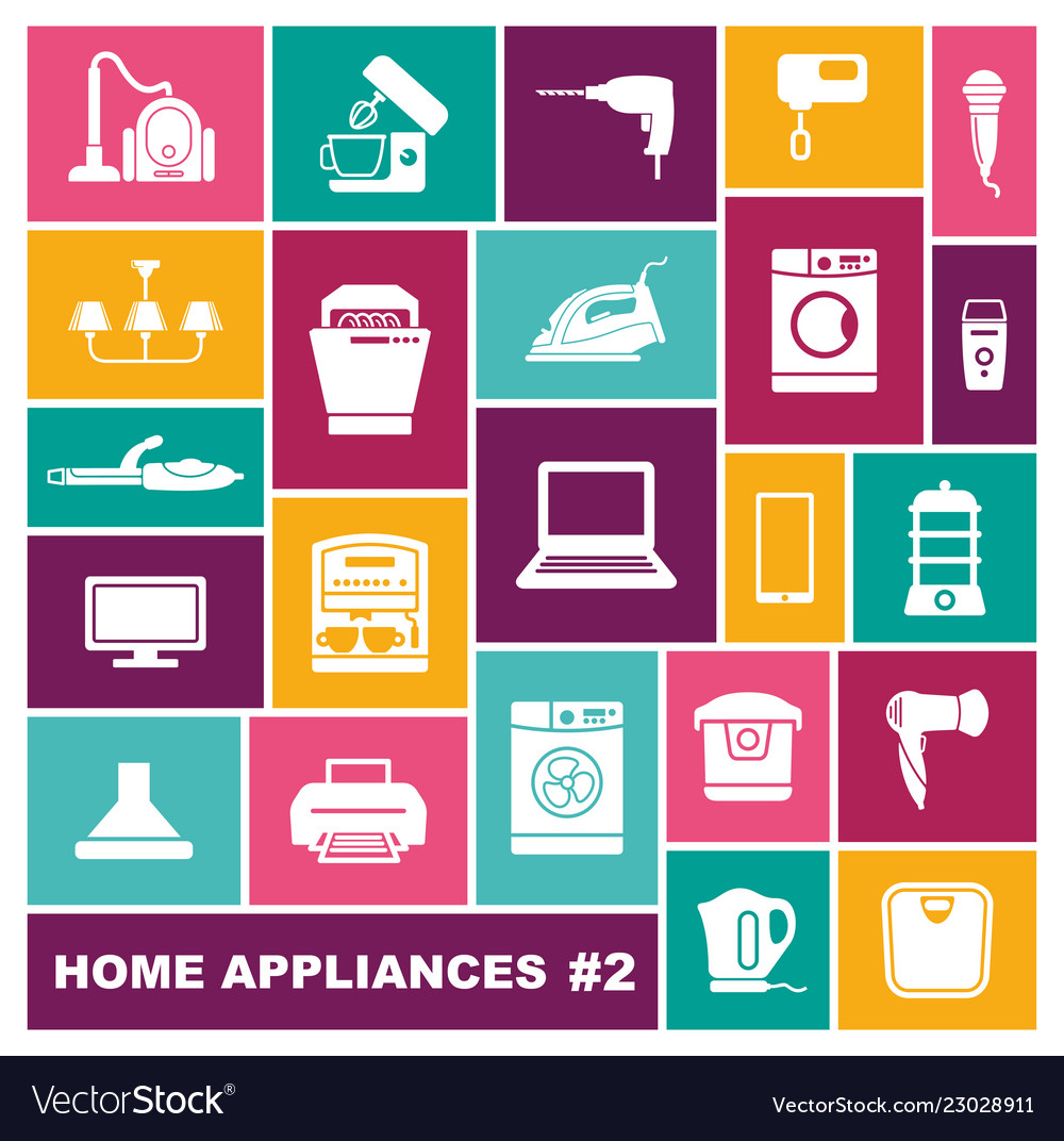 Home appliances icons in flat style