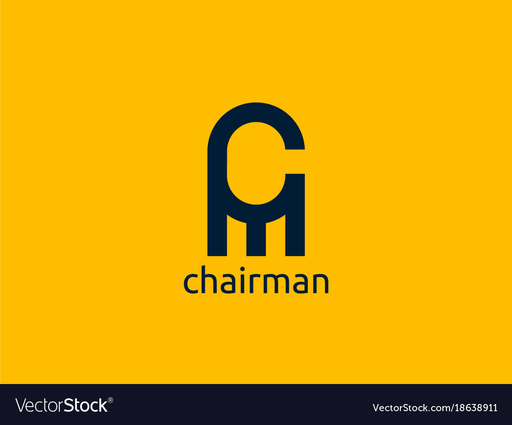 Letter cm logo abstract chair furniture design Vector Image