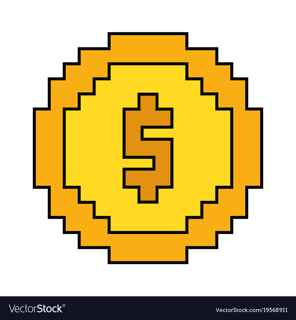 Money coin pixel dollar currency