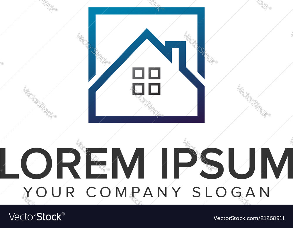 Real estate square logo design concept template