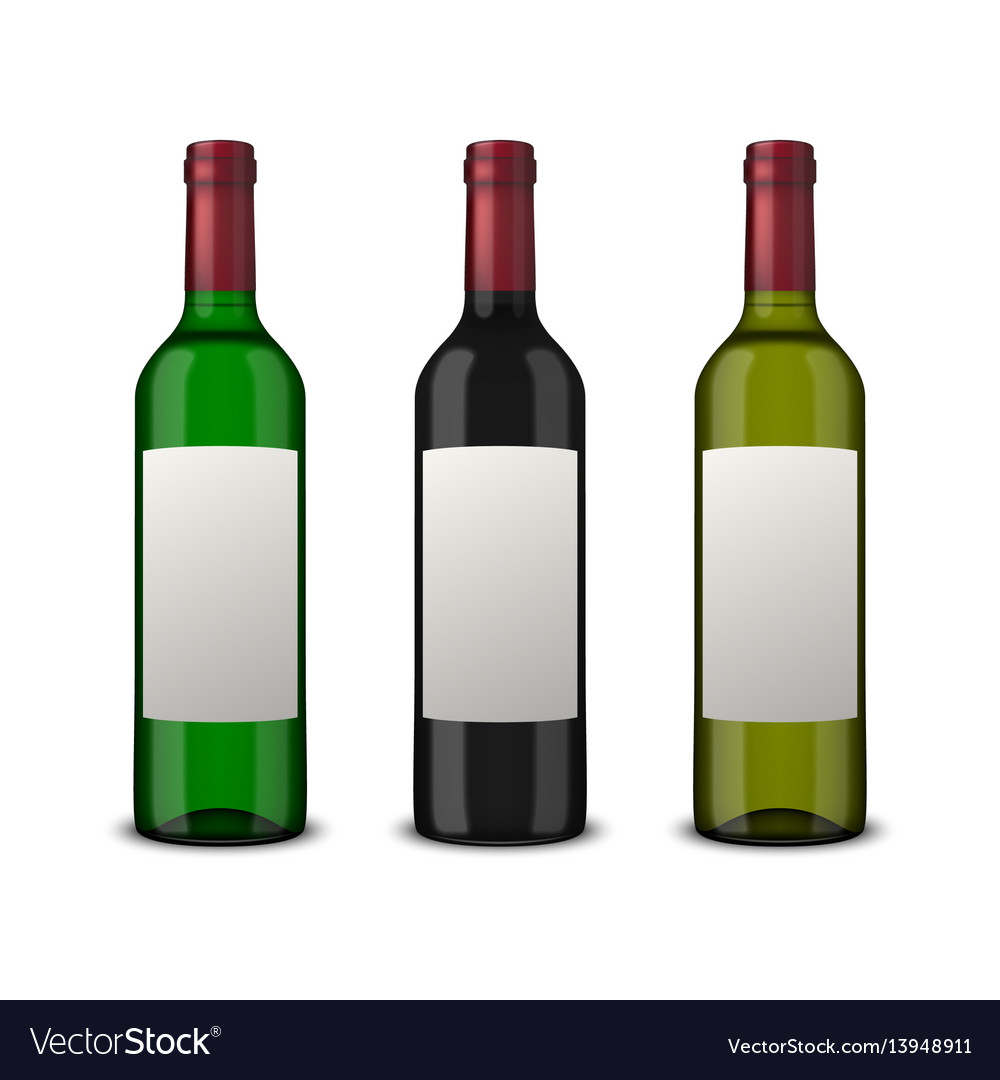 Set 3 realistic bottles of wine with blank