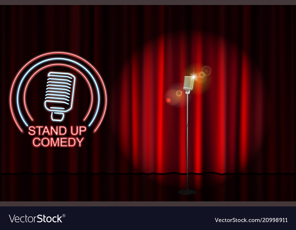 Stand up comedy with neon microphone sign and red