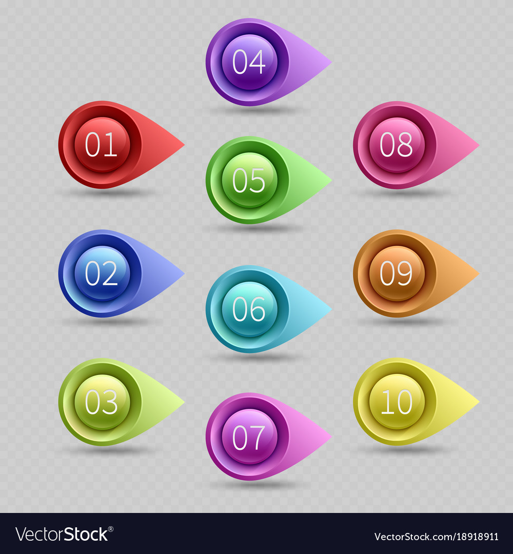 Ten color bullet points with numbers
