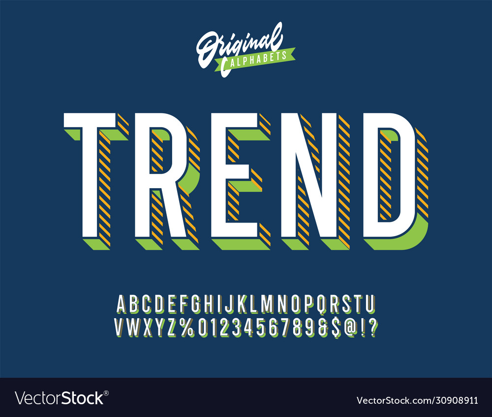 Trend vintage colourful 3d typeface vector