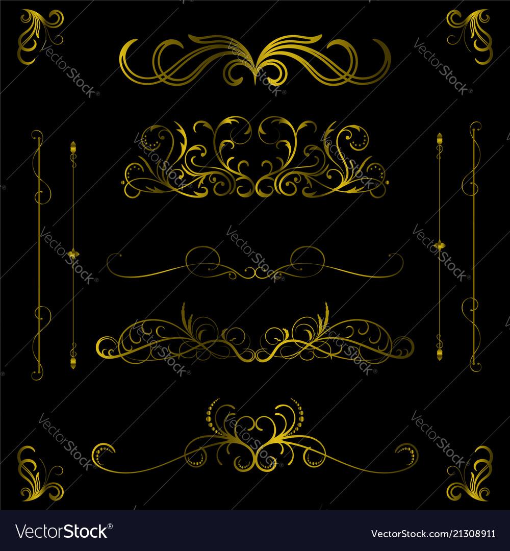 Vintage gold color decorative hand drawn elements