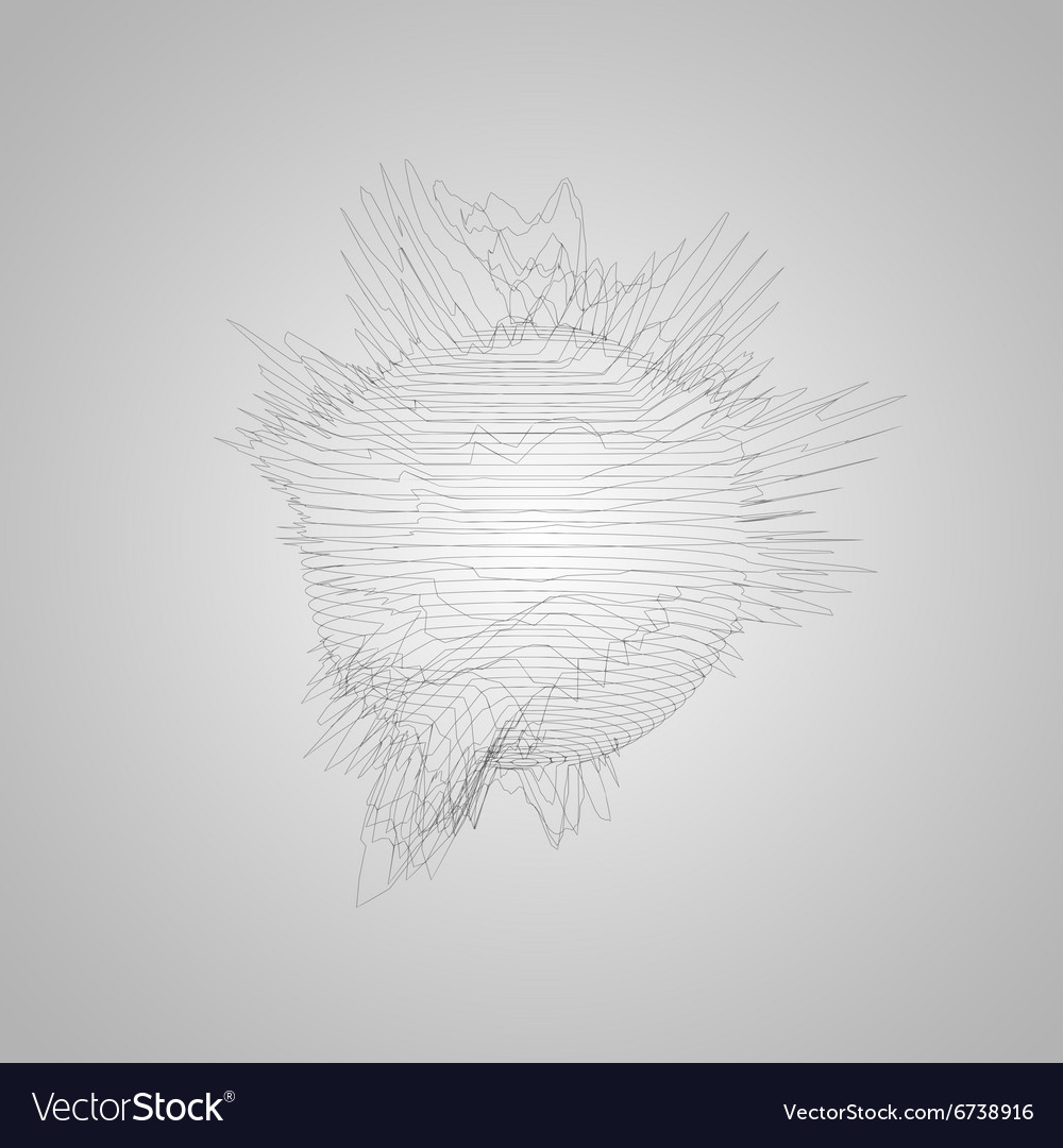 3D distorted wireframe sphere