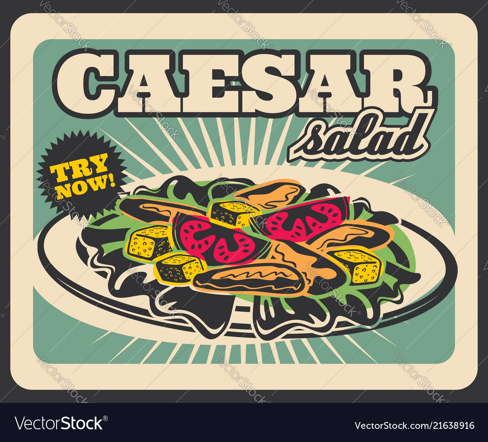 Caesar salad fastfood restaurant menu retro poster