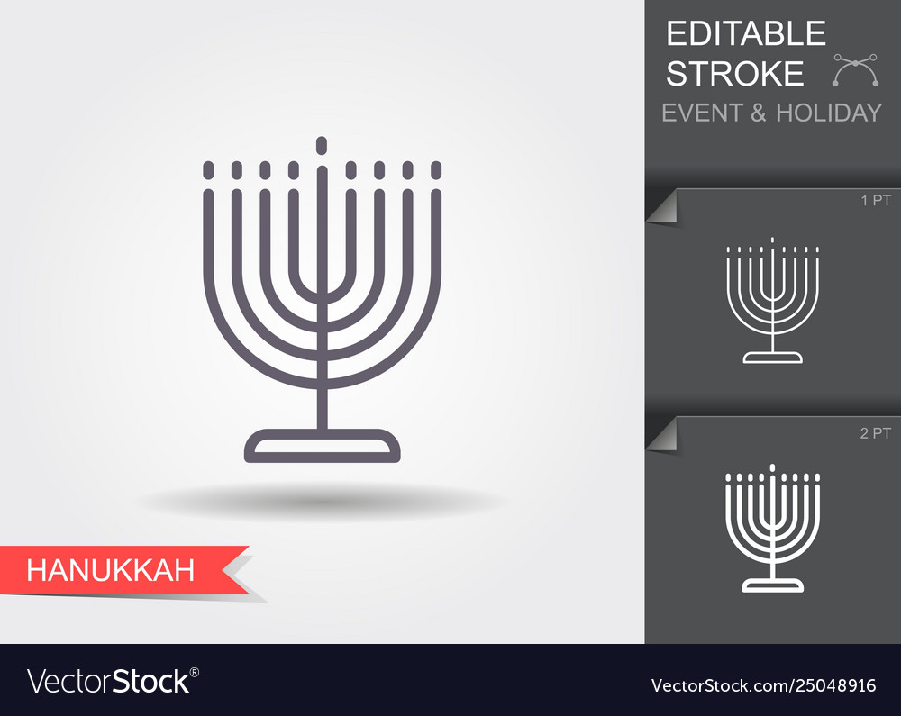 Candle holder for hanukkah line icon with
