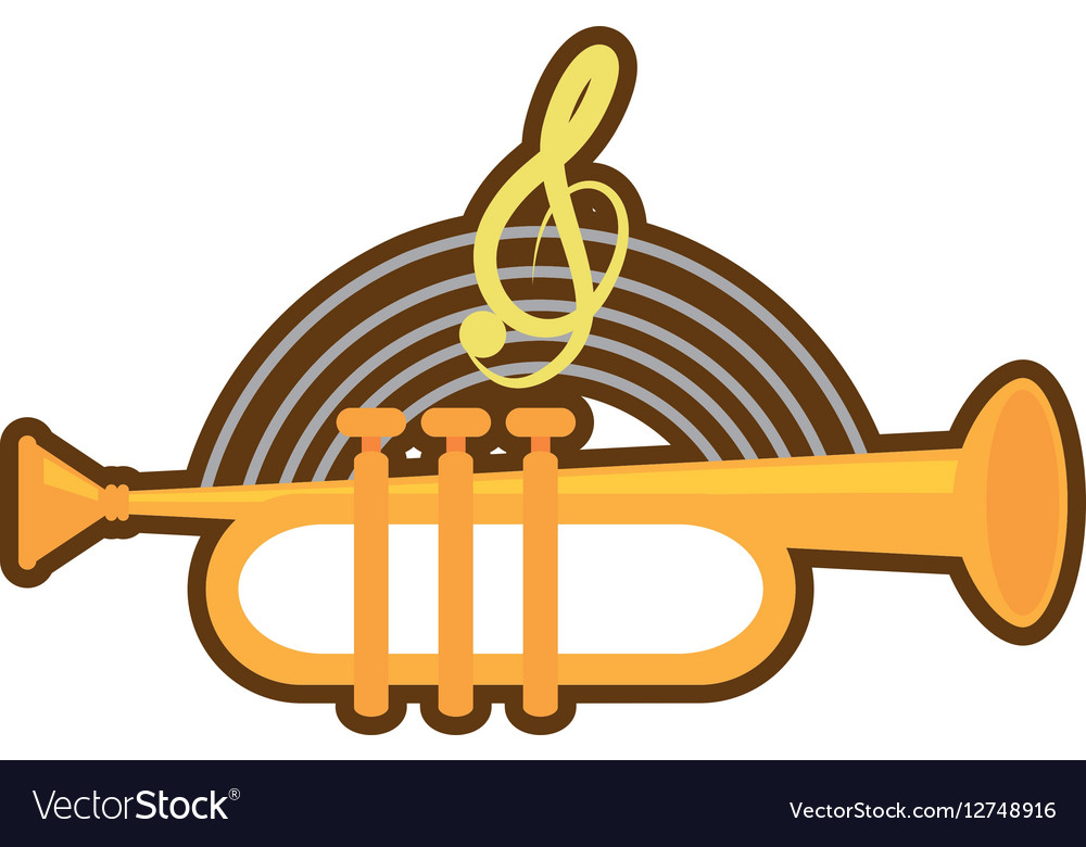 Cartoon trumpet instrument music wind