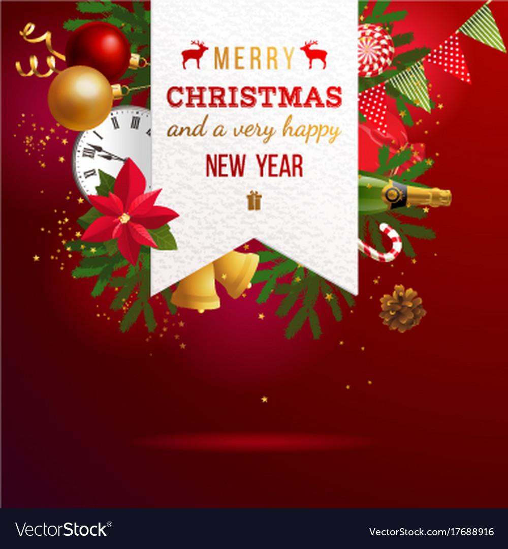 Christmas emblem over bright holiday background