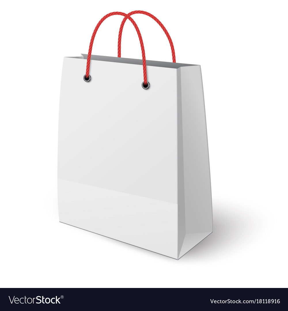 Classic paper shopping bag elongated vertically vector image