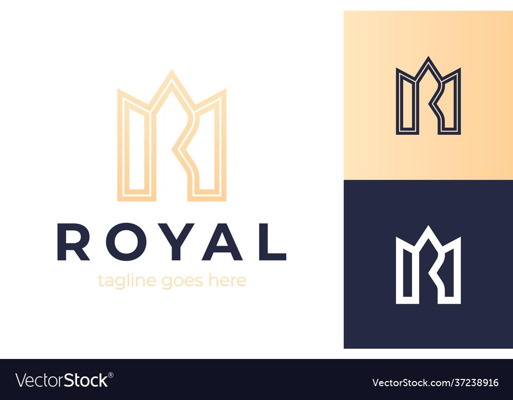 Crown letter r logo premium monogram letter r