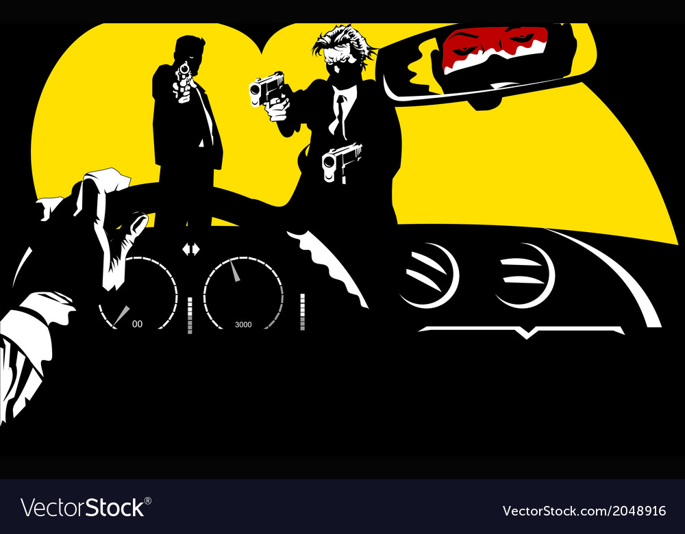 Film Noir car background vector image