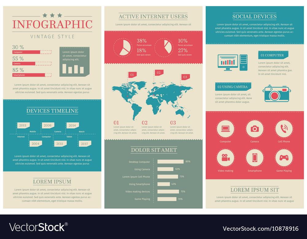 Flat vintage social media infographics