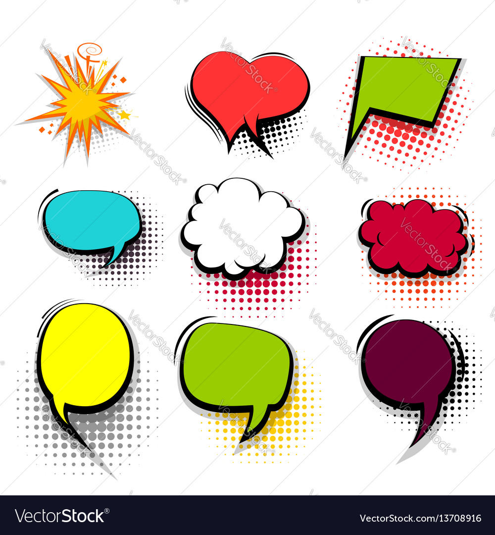 Funny set colored comic speech bubble heart burst