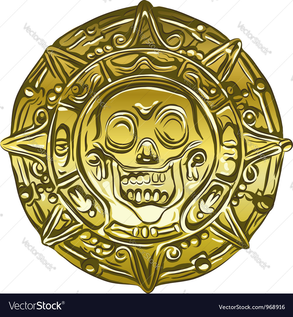 Gold Money pirate coin vector image