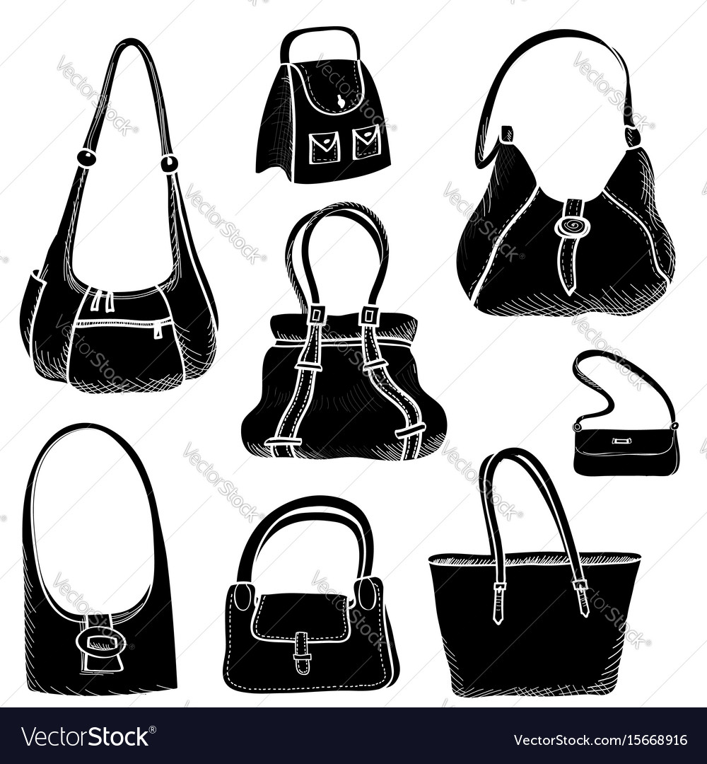 Handbags set fashion accessory women bag Vector Image a0a20fad1b