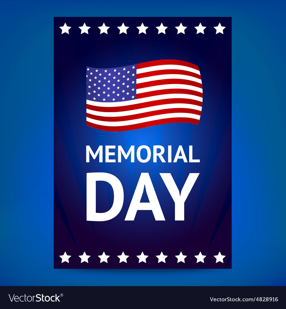 Memorial day poster with flag