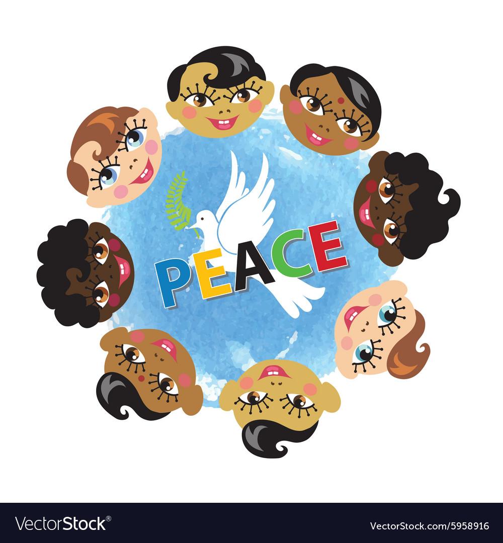 Peace dayChildren facespigeonwatercolor blue vector image