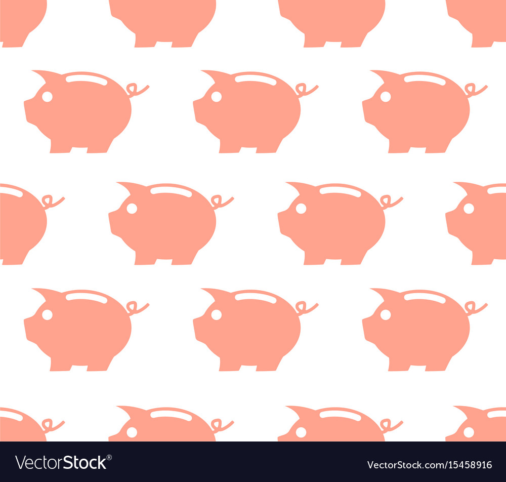Seamless pattern with piggy bank