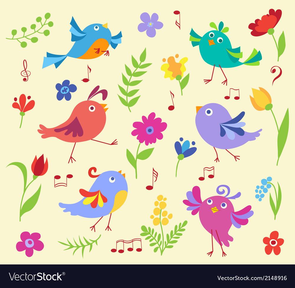 Set of cute spring musical birds