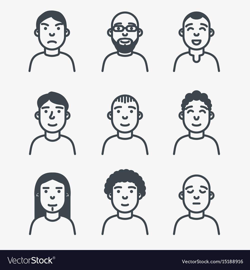 Set of line avatars