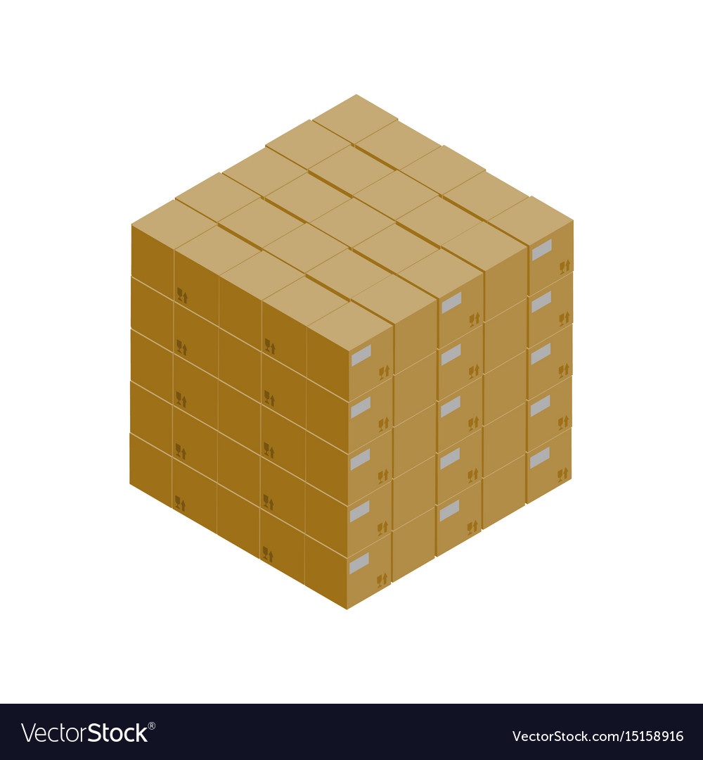 Stack of cardboard boxes isometric icon