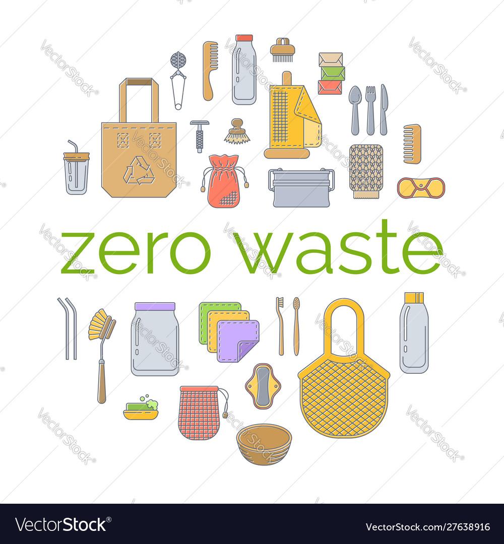 Zero waste plastic free go green flat concept