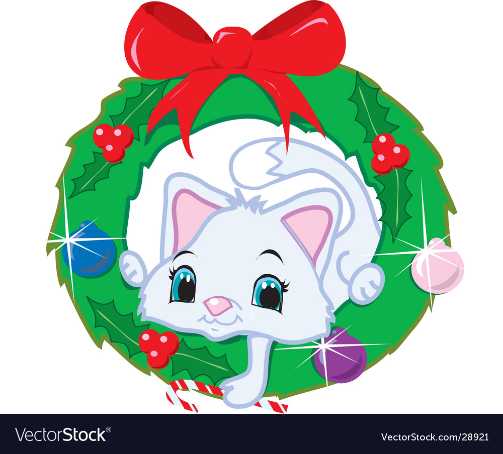 Cat in a christmas wreath vector image