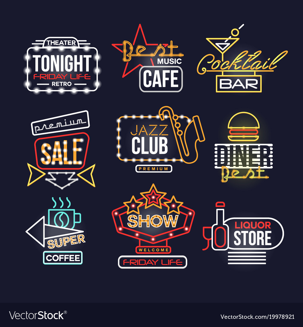 Colorful glowing neon signboards set retro light vector image