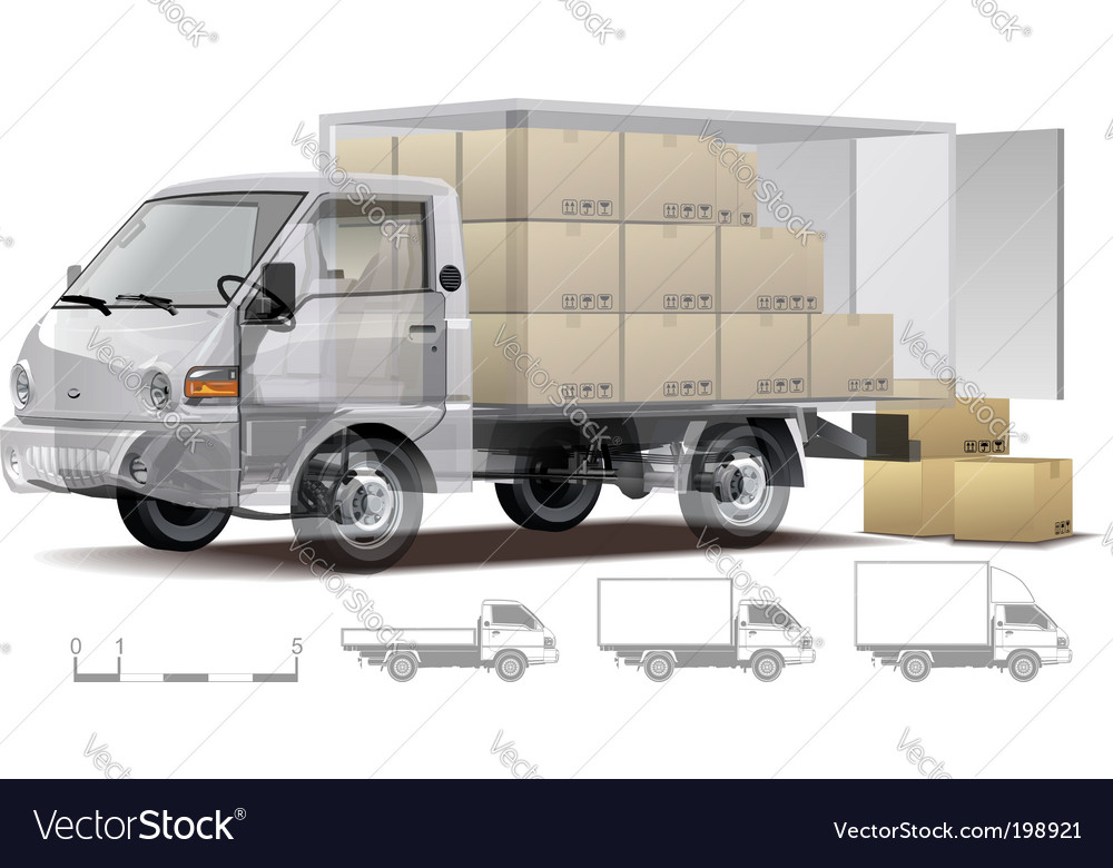 Delivery cargo truck cutaway