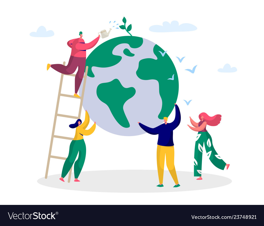 Earth day man save green planet environment