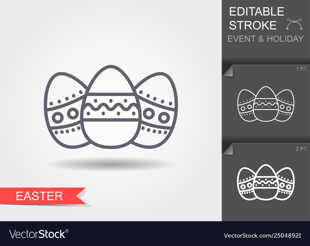 Easter eggs line icon with editable stroke