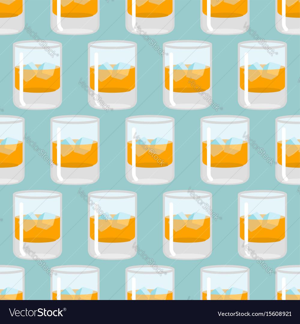 Glass of whiskey and ice seamless pattern scotch