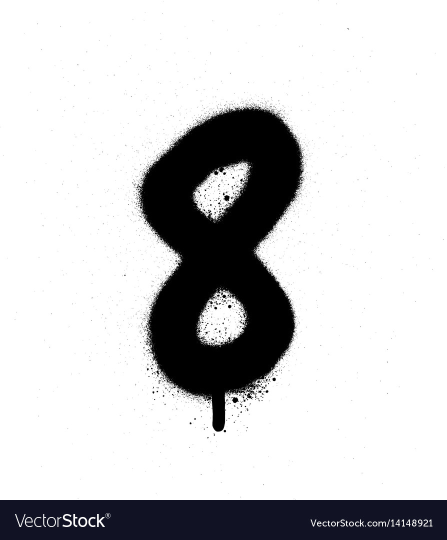 Graffiti sprayed number 8 eight in black on white