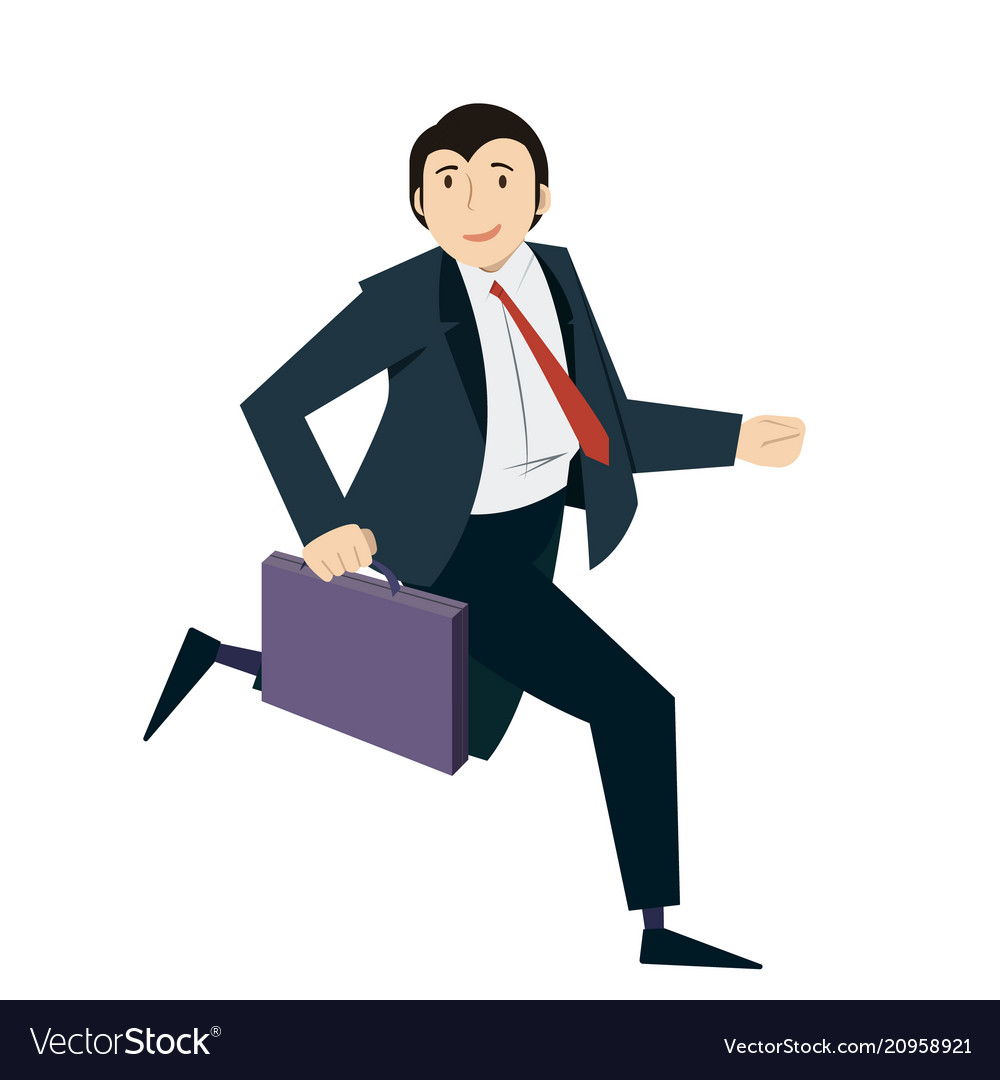 Happy businessman running with case in his hand