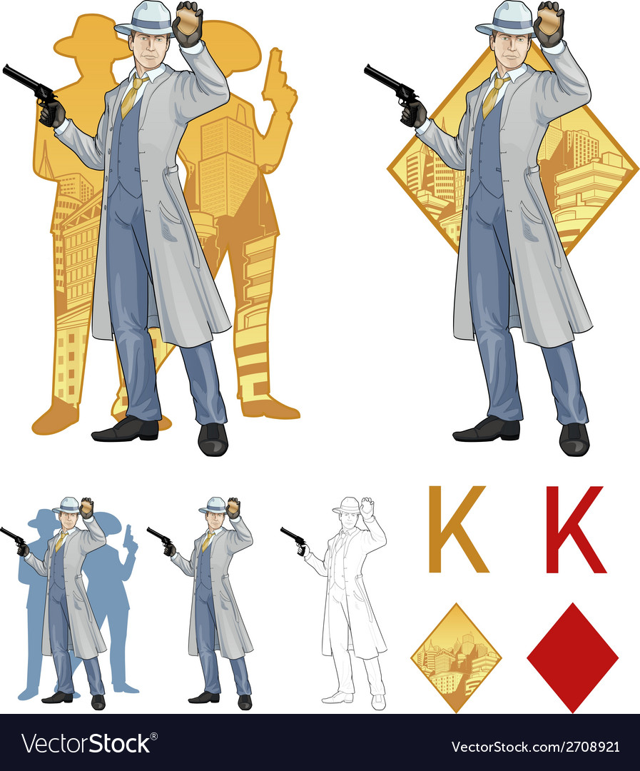 King of diamonds caucasian police chief and people