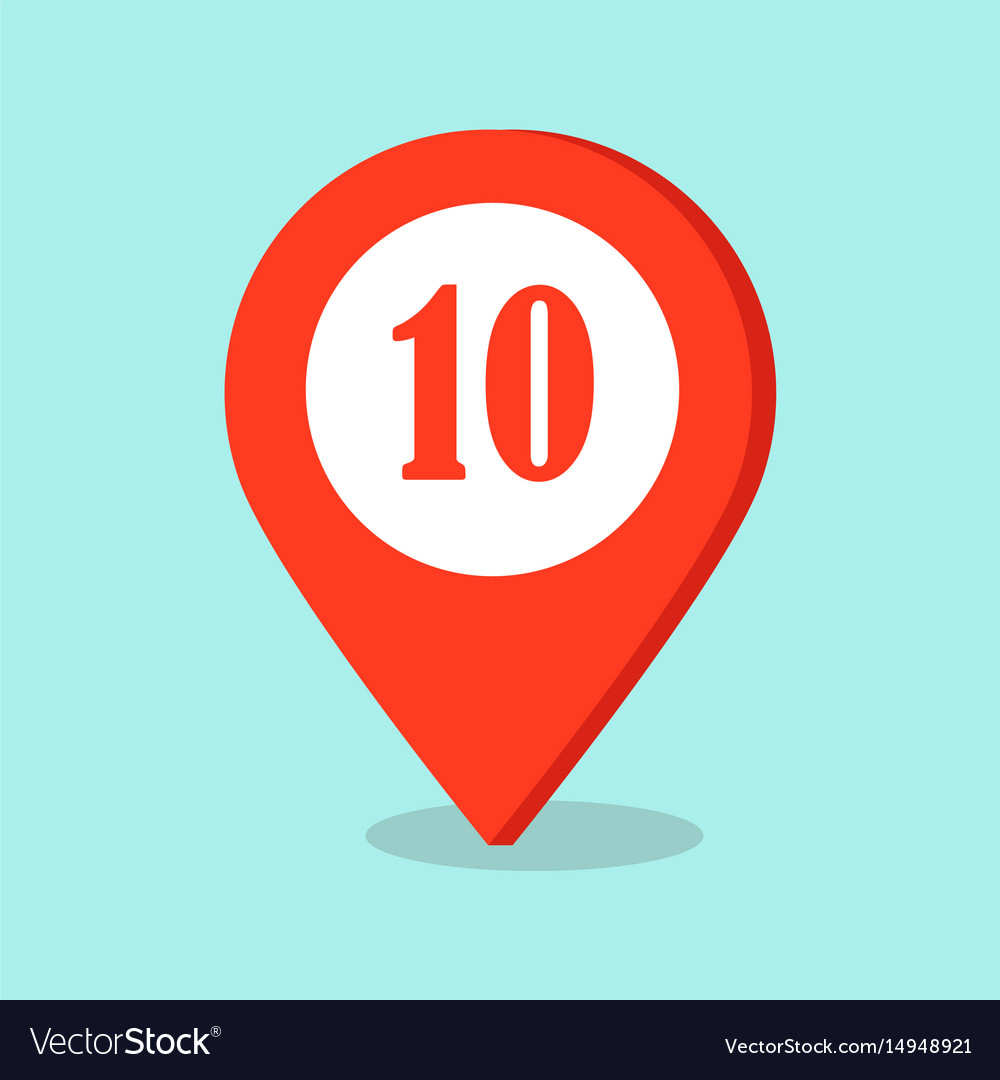 Map pointer location icon with number ten sign