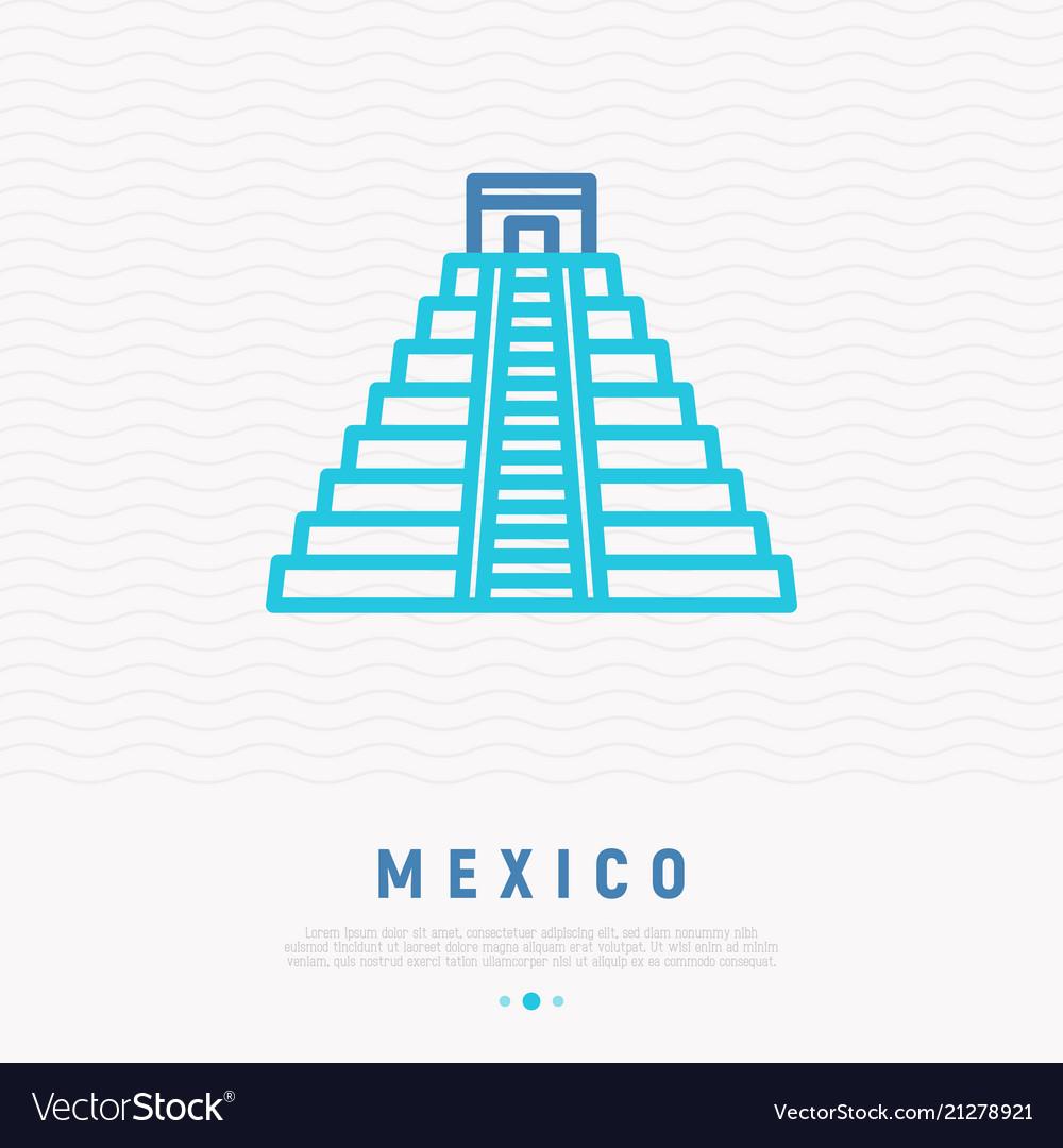 Mayan pyramid thin line icon