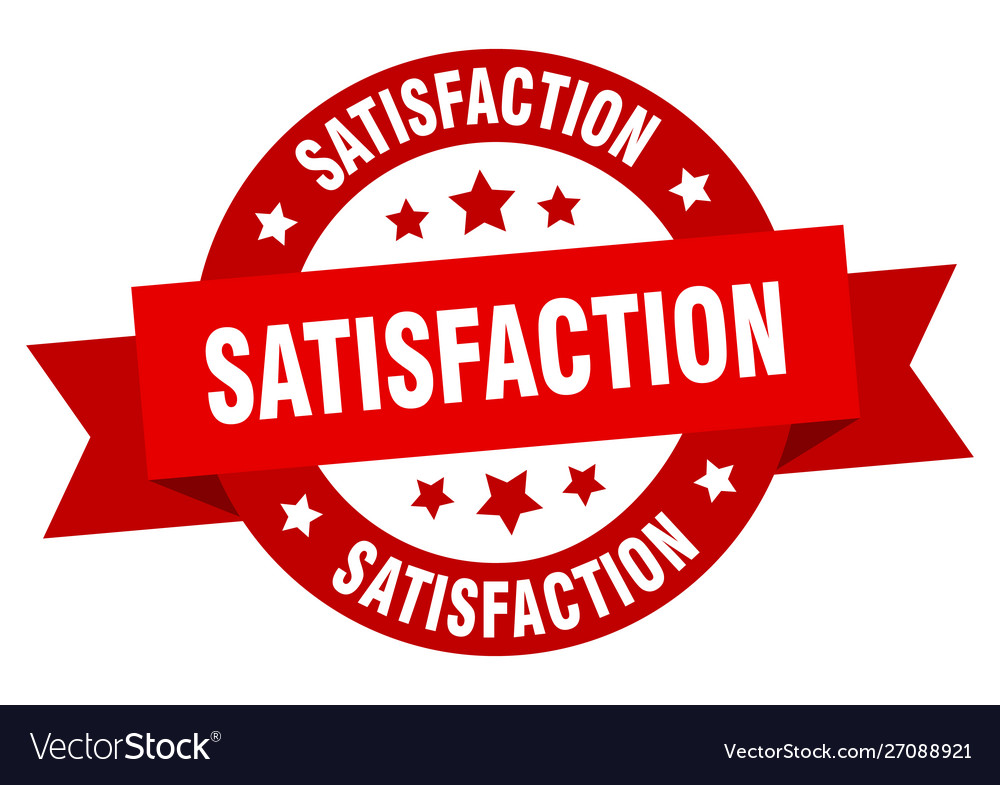 Satisfaction ribbon satisfaction round red sign