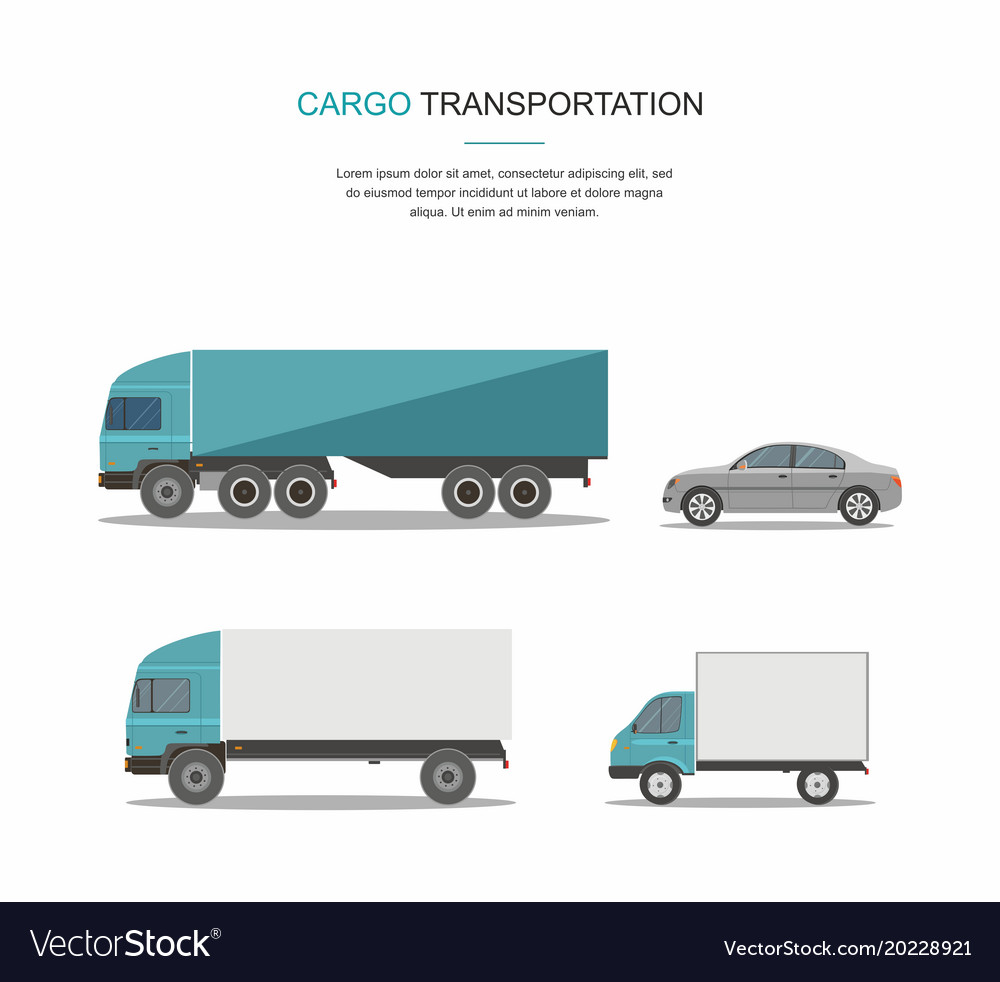 Set blue cargo delivery truck